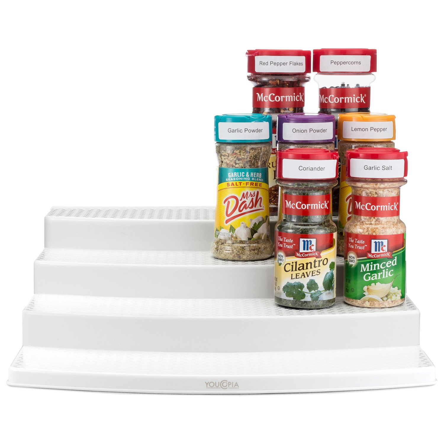 youcopia spicesteps 4tier cabinet spice rack organizer white 24bottles
