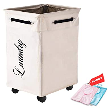 LuxUnik Laundry Basket With Wheels, Foldable Rolling Laundry Basket Waterproof Laundry Hamper with Wheels with Bonus Mesh Hanging Storage Bags, Ivory
