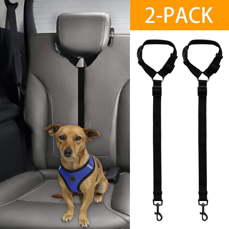 XMSSIT Dog Leashes for Car Headrest, Dog Cat Safety Seat Belt Strap Car Headrest Restraint Adjustable Nylon Fabric Dog Restraints Vehicle Seatbelts Harness 2 Packs