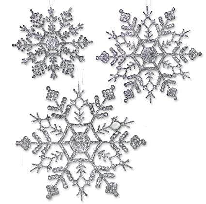 silver glitter snowflakes 36 assorted sized snowflake ornaments 12 each of 4