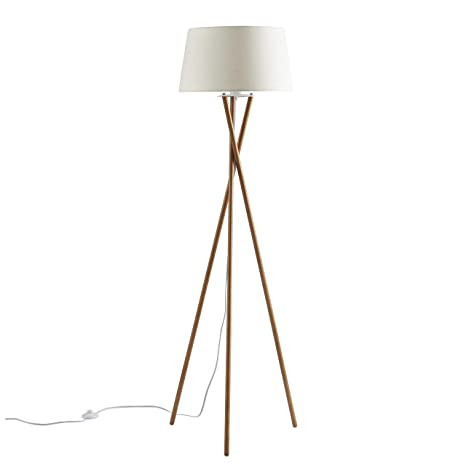 Ambiore Wood Tripod Floor Lamp Maud Modern Elegant Indoor Standing Light For Mid Century Living Room And Bedroom Solid Wood Walnut Stand With