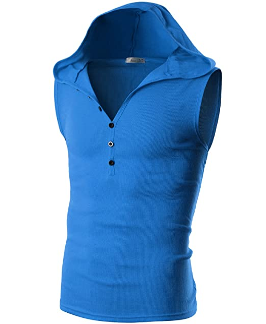 e4eab65b5a943 Ohoo Mens Slim Fit Hooded Sleeveless Hoodie Henley Button Ribbed Tank  Top DCT008-BLUE