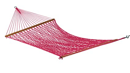 Hangit 13FT Large dyed polyester rope hammock with net (Burgandy)