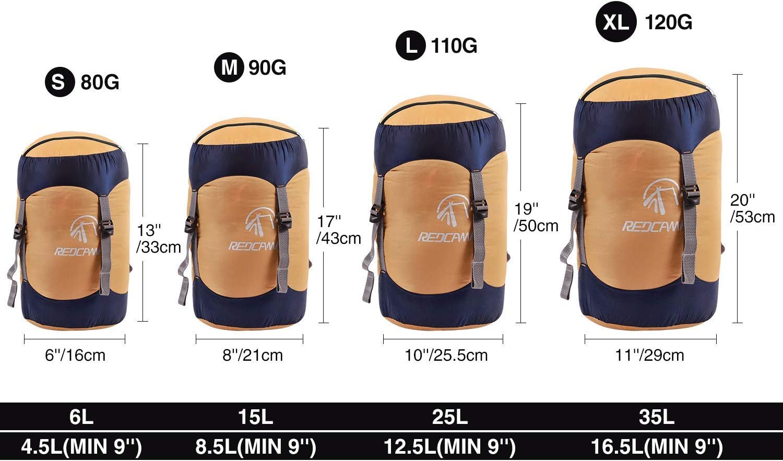 Color Amarillo Excursionismo REDCAMP 15//25//35L Bolsa de compresi/ón de Nailon para Saco de Dormir Bolsa de compresi/ón Ligera y compacta para Acampar Senderismo Viajes