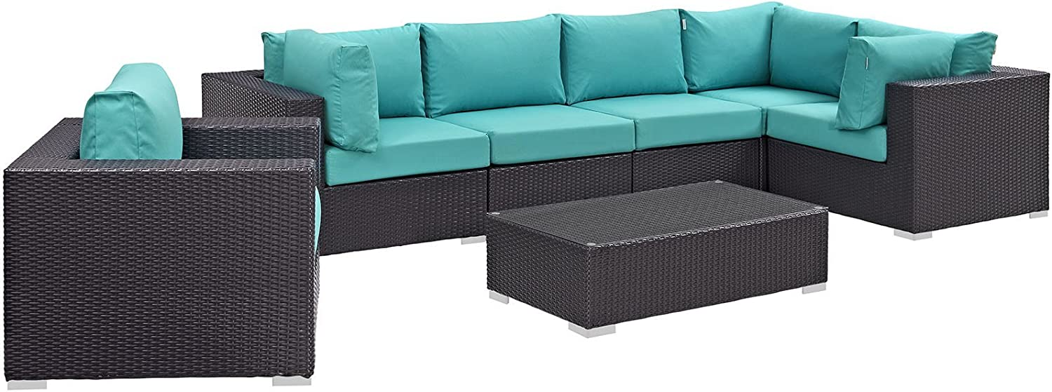 Modway EEI-2157-EXP-TRQ-SET 7 Piece Convene Wicker Rattan Outdoor Patio Sectional Sofa Furniture Set, Seating For Five, Turquoise