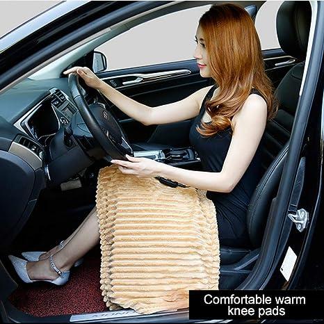 JXHD Automobile Manta EléCtrica/Manta De Rodilla - Material De Fibra De Carbono De Coche 12V Puede Lavarse con Agua Y Calentarse RáPidamente,Beige: ...