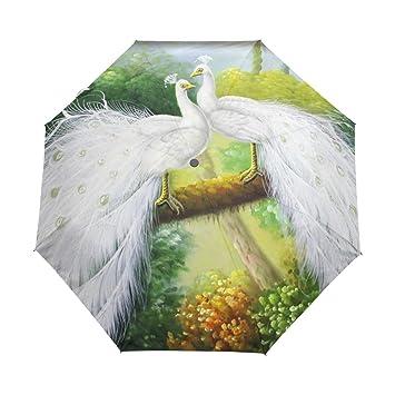 bennigiry abstracción pájaro Vector pavo real 3 Folds Auto Abrir Cerrar paraguas compacto, resistente al