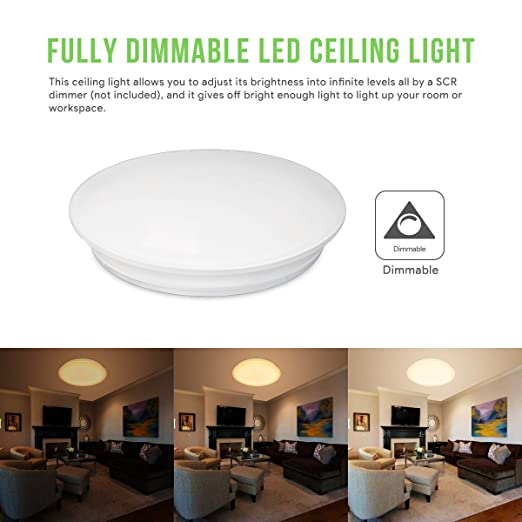 Bright Ceiling Light For Bedroom   LE Dimmable 40W 19.3 Inch LED Flush  Mount Ceiling Light Fixtures .