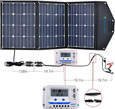 front facing acopower 120w camping solar panel