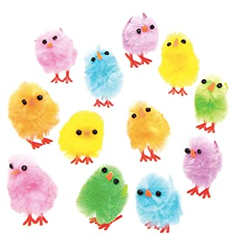 30 PACK YELLOW MINI EASTER CHICKS BONNET DECORATIONS CRAFTS PARTY CAKE TOPPERS