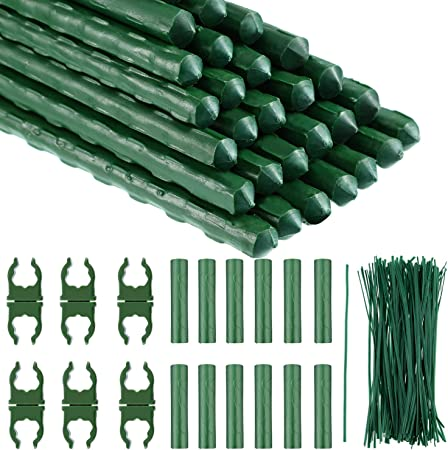 Pack of 10 Diameter 11mm by 24-Inch Length Heavy Duty Plant Support Sturdy Stakes