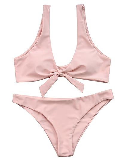 a1aadc7352e4e Amazon.com: MOSHENGQI Women Tie Knot 2 Piece Push-up Bandage Swimsuit  Bathing Suit Bikini Set(L(US Size 6-8),Pink-1): Clothing