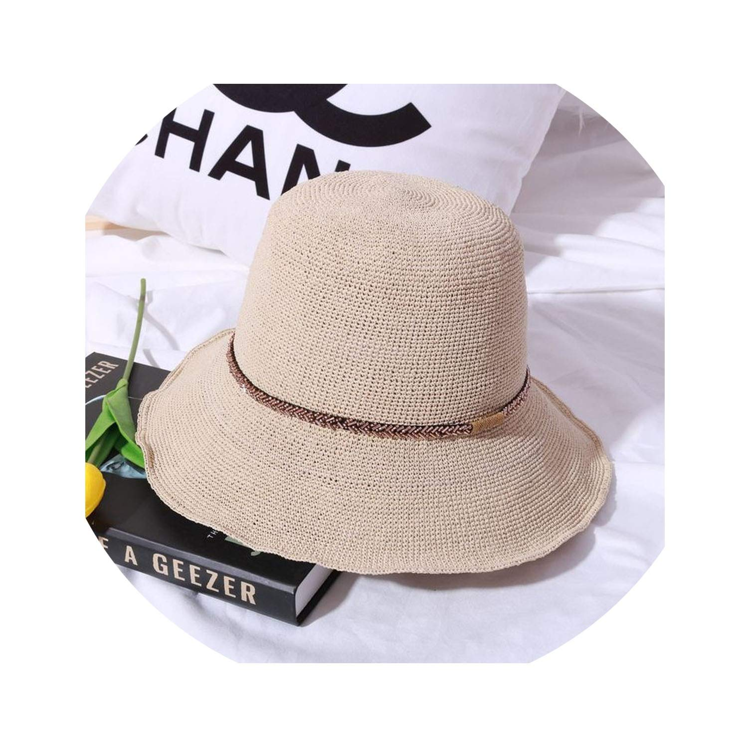 Beige four HandWoven Special Straw Hat Casual Wild Cap Simple Fisherman Hat Outdoor Hat