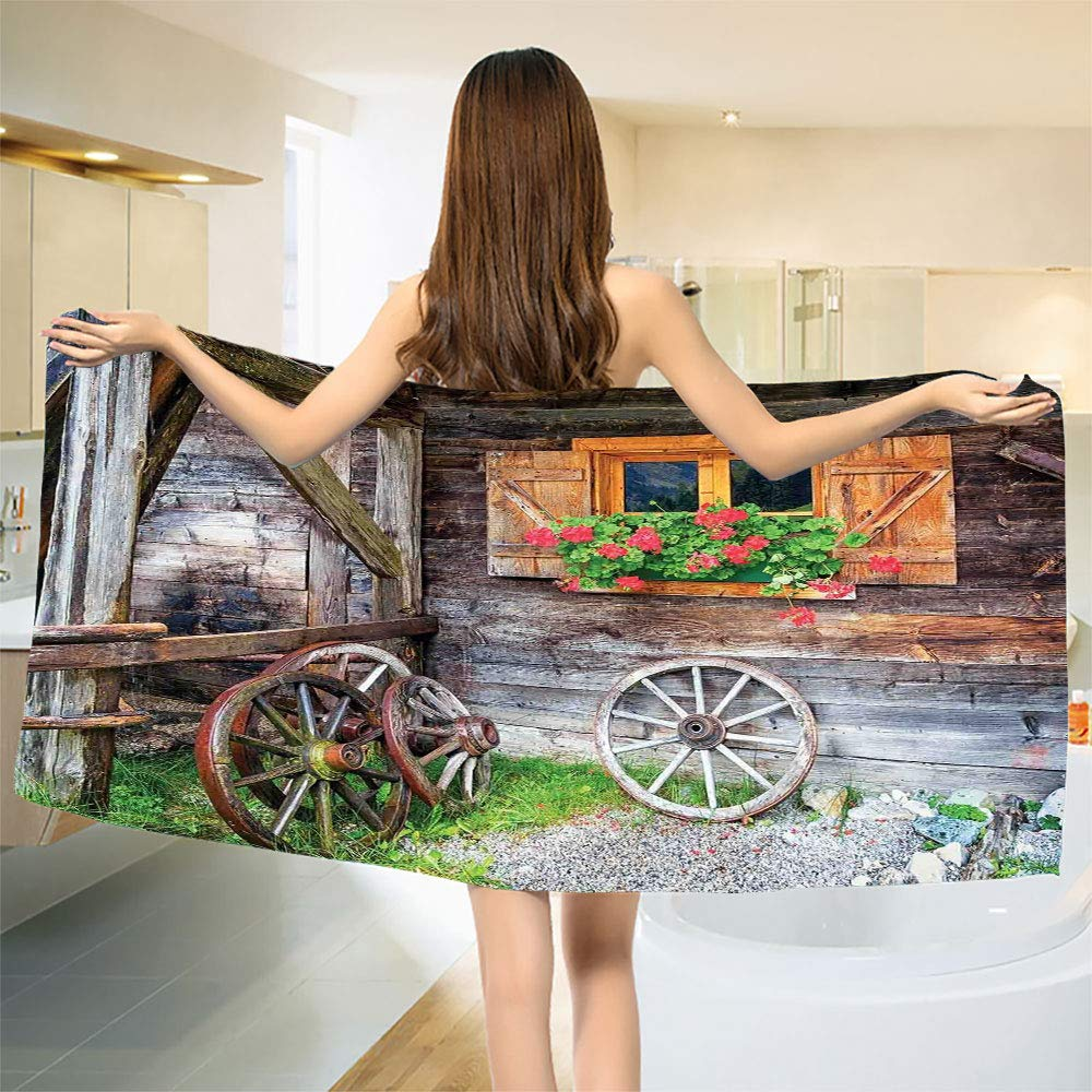 smallbeefly Shutters Bath Towel Weathered Window with Flowers in Pot Wheels Farmhouse Rural Scene Front View Customized Bath Towels Brown Green Red Size: W 19.5'' x L 39.9''