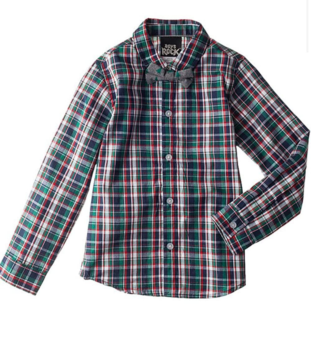 Boys Rock Toddler Boys 4-7 Boys Plaid Print Long Sleeve Woven Shirt /& Bow Tie