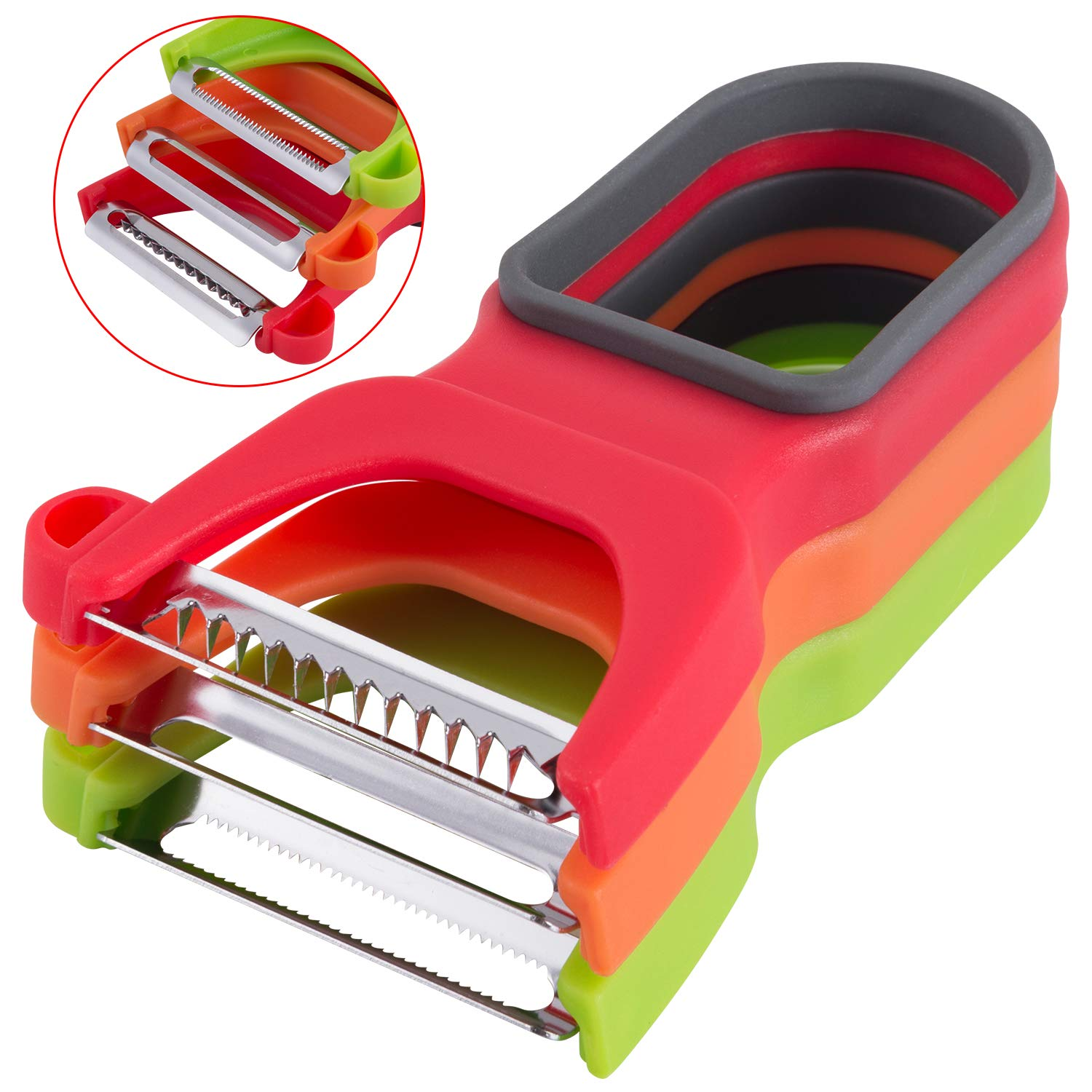Attootric Peeler, Vegetable Peeler Set of 3 pcs with Sharp Stainless Steel Blade for Apple Potato Fruit, Swivel Y Serrated Julienne Peeler Non-Slip Handle Kitchen Gadgets Tools (Red Green Yellow)