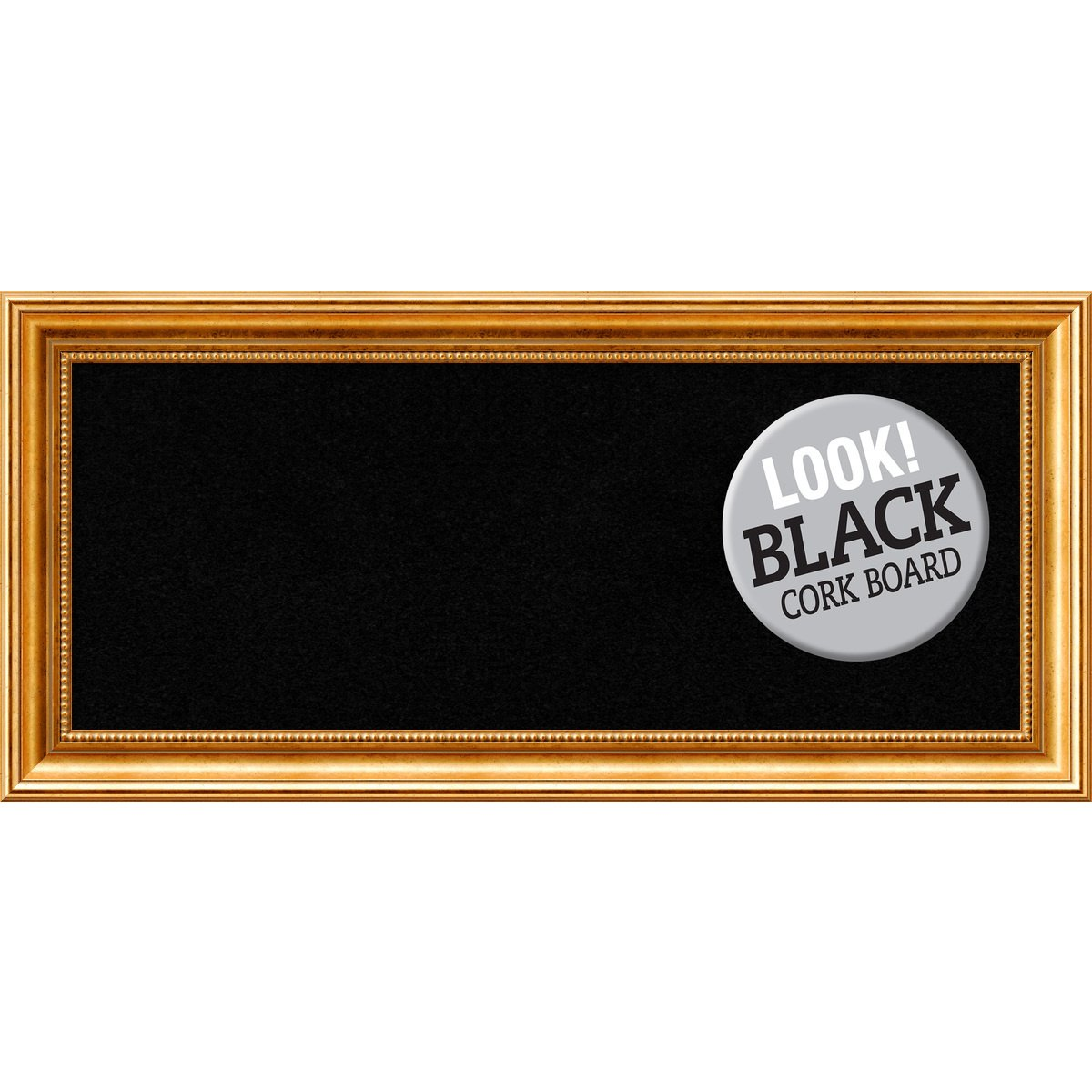 Amanti Art Framed Black Cork Board Townhouse Gold: Outer Size 34 x 16'', Panel