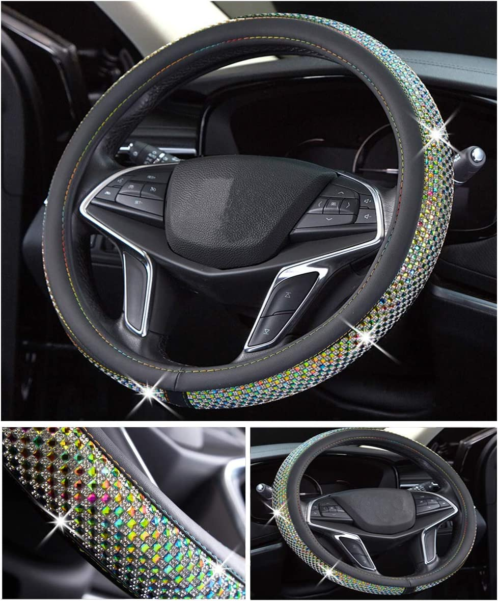 Car Accessories Interior Shining Decorating New White 15 Inch 37-38 cm DailyWise VicPlus Bling Bling Diamond Car Steering Wheel Cover Rhinestone Covers Universal Fit 14.5 Inch
