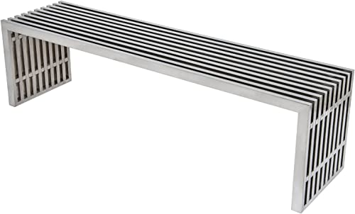 LeisureMod Eldert Mid-Century Modern Stainless Steel Bench in Silver Polished Big