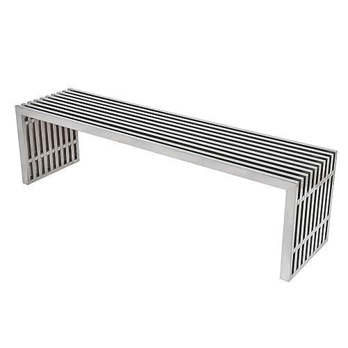LeisureMod Eldert Mid-Century Modern Stainless Steel Bench