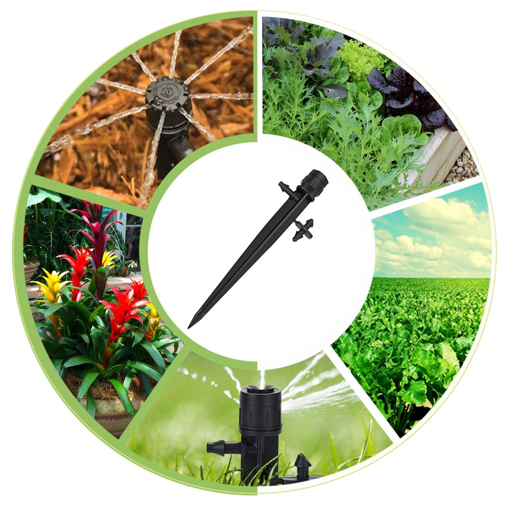 QIUYE 50 Pcs Adjustable Irrigation Drippers Adjustable 360 Degree Water Flow Drip Irrigation System for Flower beds Vegetable Gardens Perfect for 4mm//7mm Tube