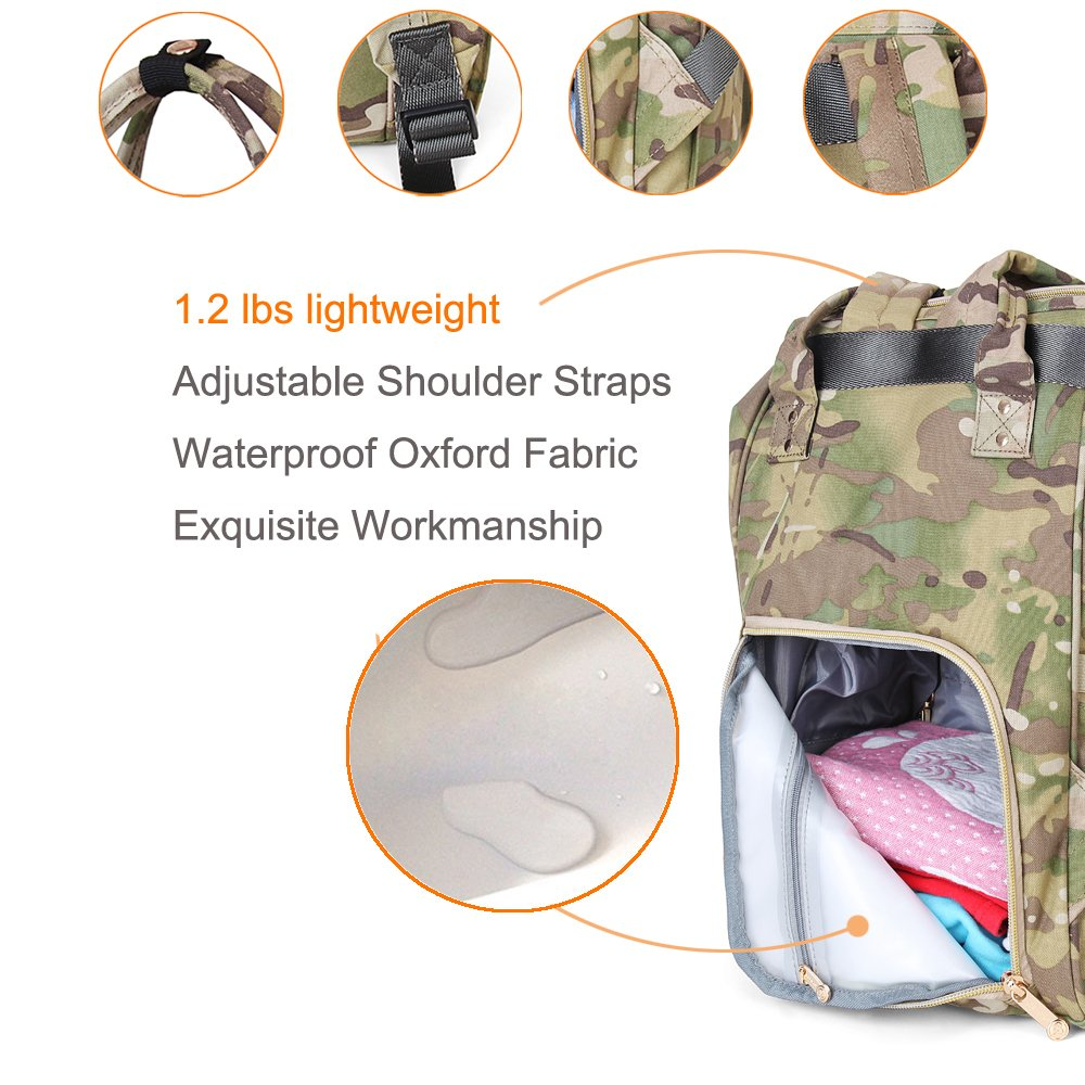 Tactical Backpack Diaper Bag for Women Men Insulated Toddler Camo Travel Backpack