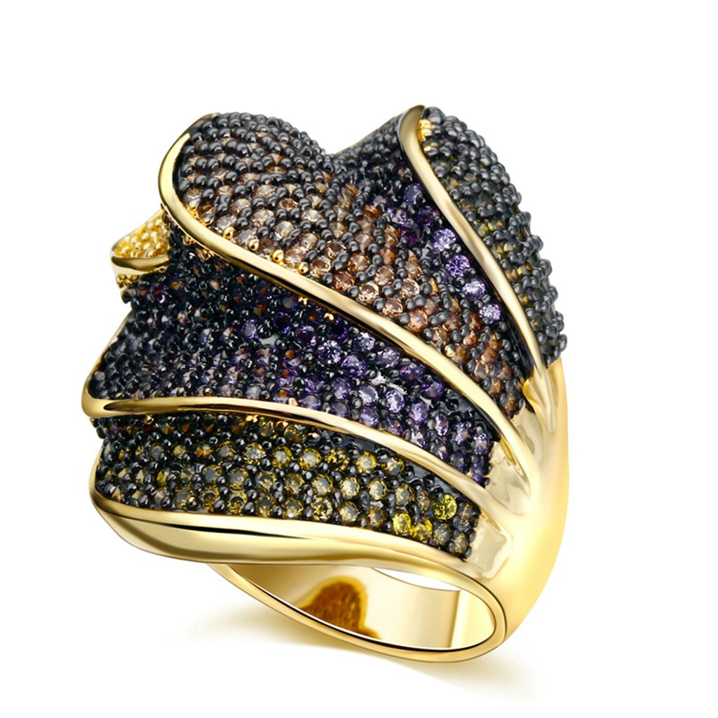 Bishilin 18K Gold Plated Colorful Cubic Zirconia Inlay Women Wedding Bands Rings Size 6