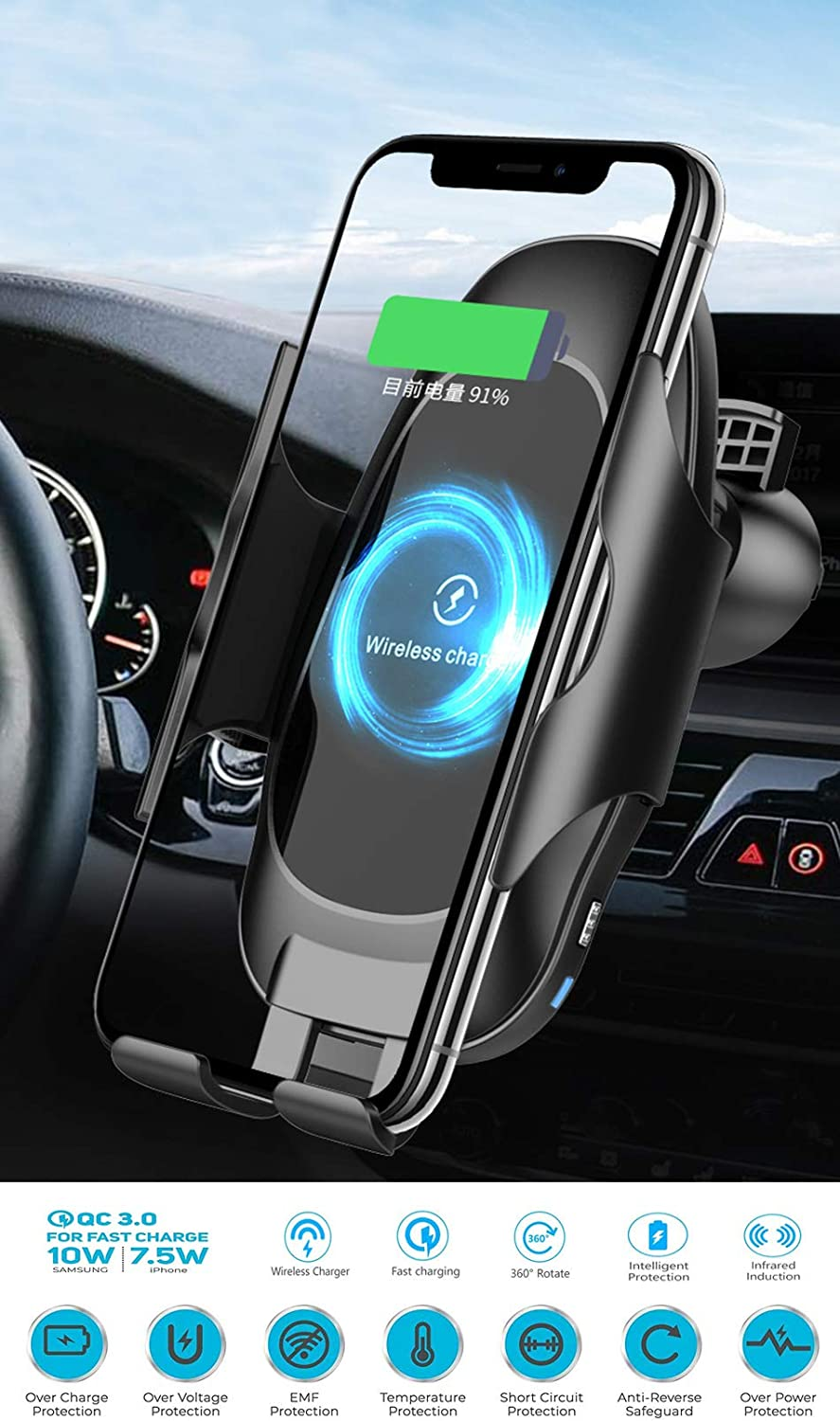 Wireless Car Charger Mount 10w Automatic Clamping Air Vent Qi Fast Charging Car Phone Holder Compatible with Phone Xs//Xs Max//XR//X Black Galaxy Note 9// S9// S9+ /& Other Qi-Enabled 4.7-6.5Inch Phone
