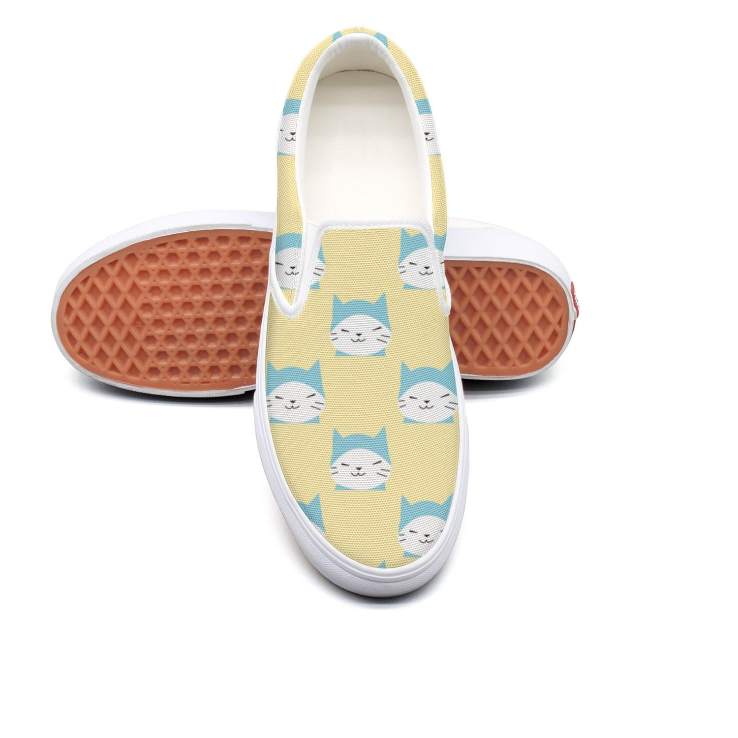 VCERTHDF Cartoon Kitty Cat Meow Print Slip-On Shoe Men White