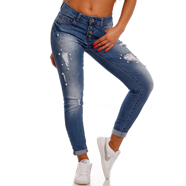 ordinary einfache dekoration und mobel die wohnung traegt jeans 3 #1: Damen Skinny Jeans mit Perlen Deko Slim-Fit Destroyed Effekten: Amazon.de:  Bekleidung