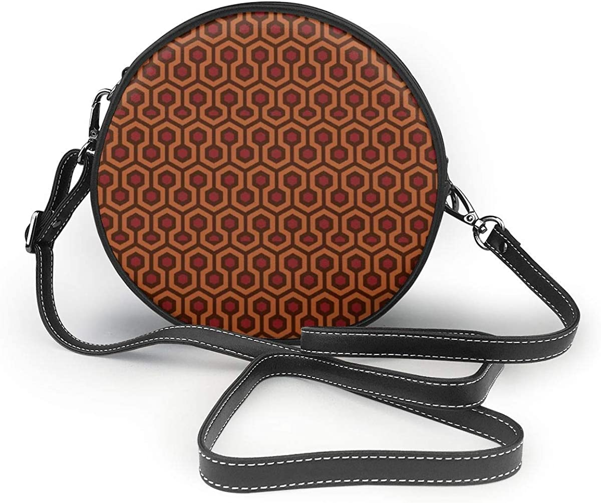 Overlook Hotel Carpet Crossbody Bags For Women//Girl Round Leather Zipper Shoulder Bag Circle Cell Phone Purse Satchel Handbag With Adjustable Strap