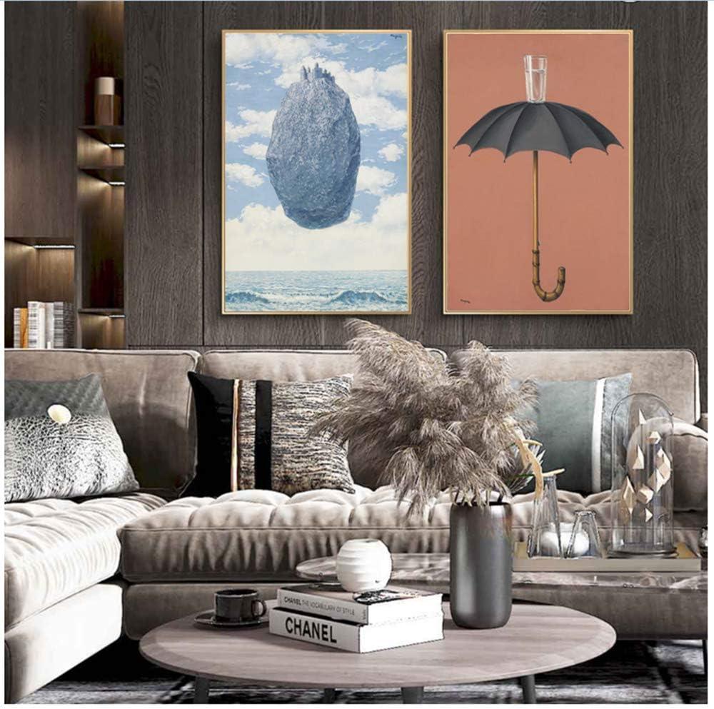 RuiChuangKeJi Cuadro en Lienzo 2x60x80cm Sin Marco Las Pinturas del Vestido de Noche de Rene Magritte Famosos Carteles de Arte Surrealismo Imágenes de Arte para Sala de Estar