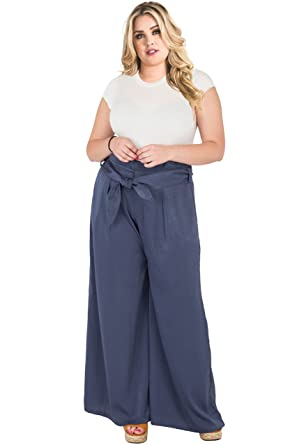 09c02bdb3f0 Standards   Practices Plus Size Women s Paper Bag Waist Blue Satin Palazzo  Pants ...