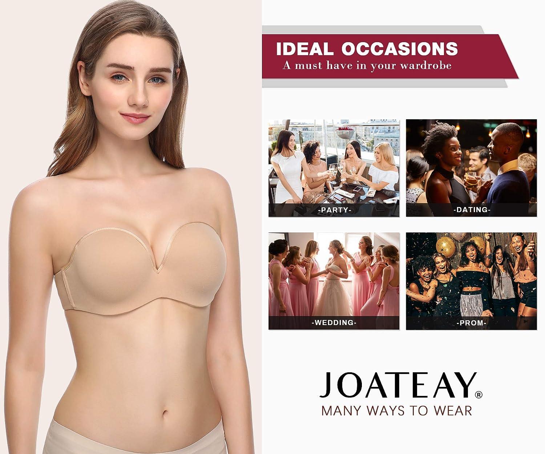 JOATEAY Women/'s Strapless Bra Convertible Anti-Slip Underwire Bra Plus Size Lightly Padded