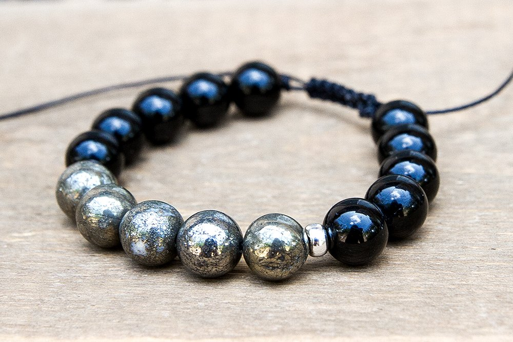 Adjustable Size Black Tourmaline and Pyrite Bracelet in Sterling Silver Or Gold Fill