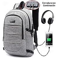Sonolife - Mochila Antirrobo Minimalista con Conector USB y de Audífonos Externo (Gris)