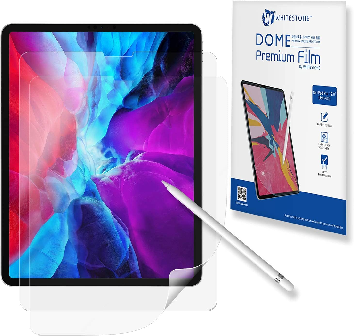 [Dome Premium Film] Paperfeel Screen Protector for iPad Pro (12.9 inch), Compatible with Apple Pencil by Whitestone - Two Pack