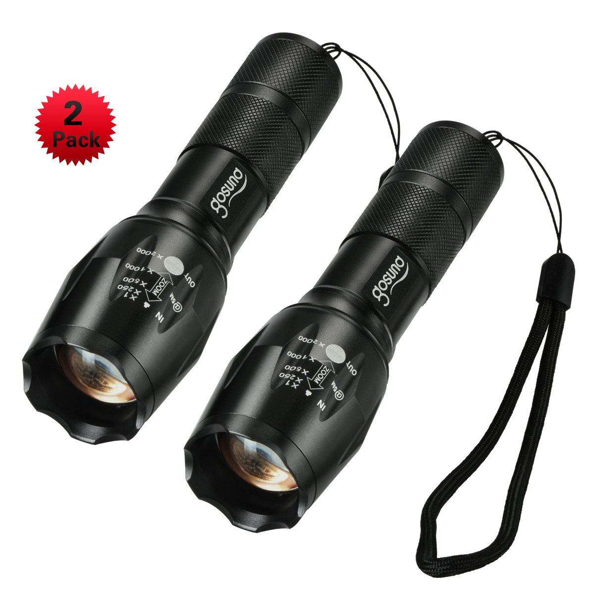 gosund t6 led resistant zoomable tactical flashlight of 5 light modes high powered led torch with bottom click for outdoor 2 pcs