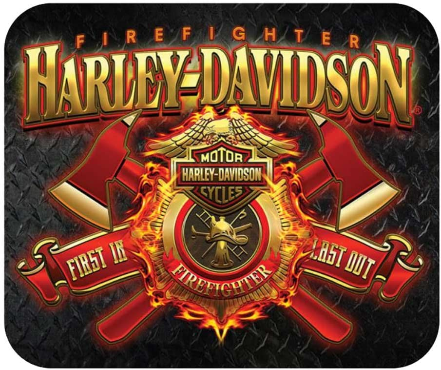 Harley-Davidson Firefighter Original Thin Neoprene Mouse Pad Black MO126581