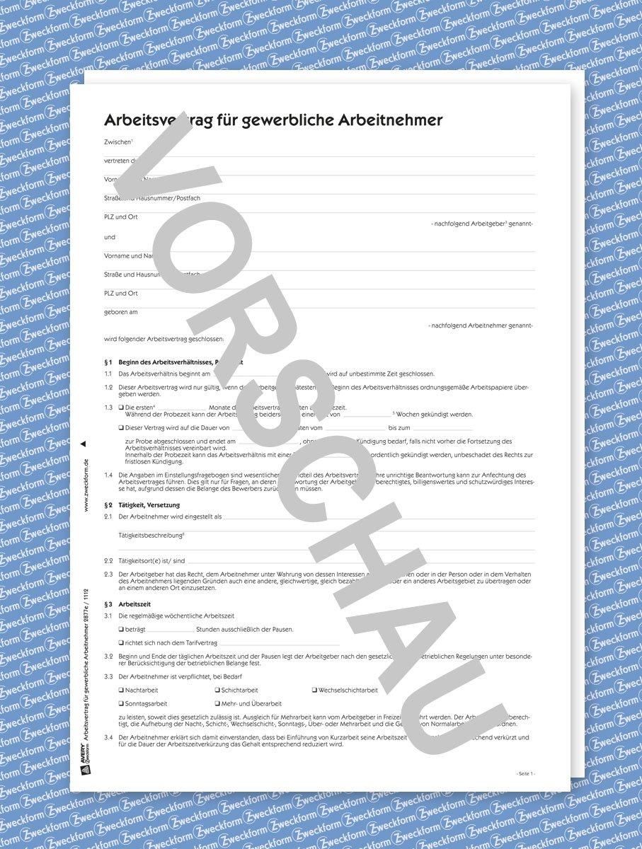 Avery Zweckform 2877e Arbeitsvertrag Gewerbliche Arbeitnehmer Word