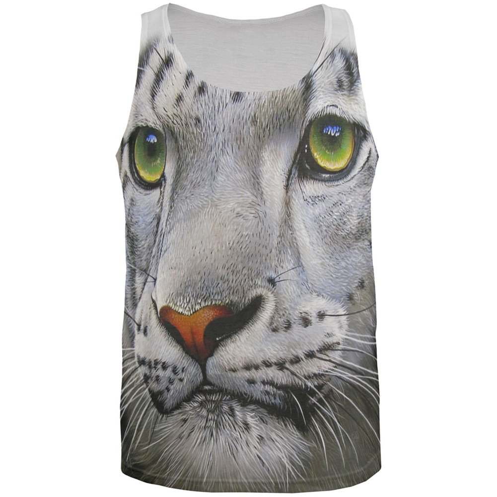 White Snow Leopard Face All Over Adult Tank Top