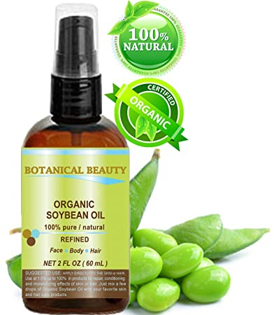 Botanical Beauty ORGANIC SOYBEAN OIL 100% Pure  For Face, Hair and Body  2  Fl  oz- 60ml
