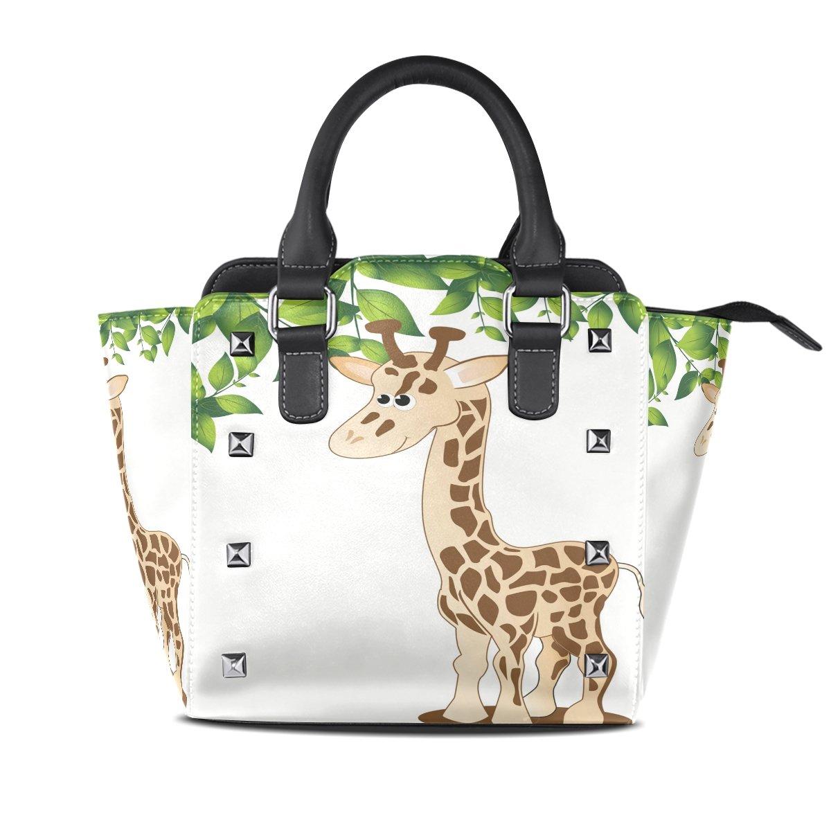Womens Genuine Leather Hangbags Tote Bags Cute Giraffe Purse Shoulder Bags