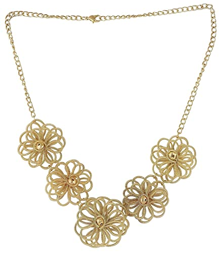 Buy Mayank Jewels Golden Wire Flower Necklace For Women And Girls