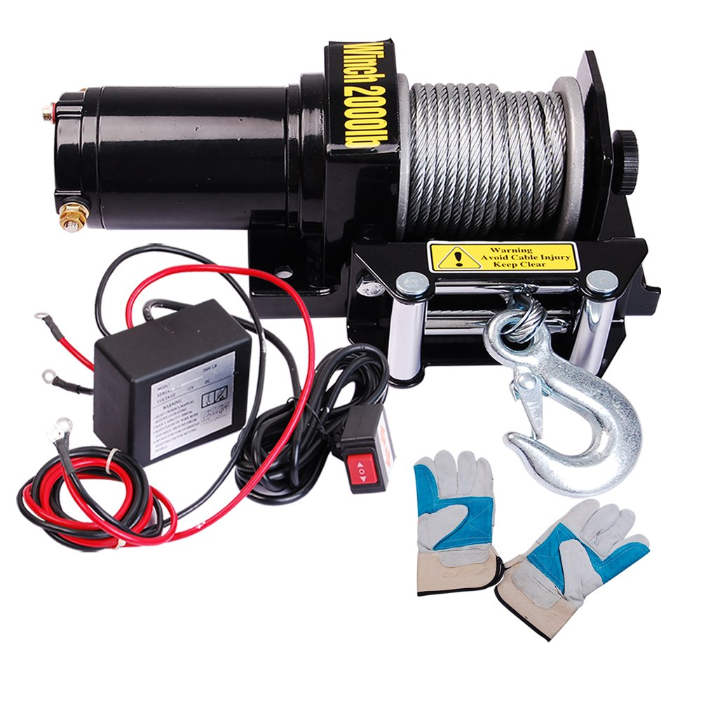 Yescom 2000 Lb 09hp Electric Recovery Winch Free Gloves Bad Boy Utv Wiring Diagram For Atv Jeep Trailer Truck 12v Automotive