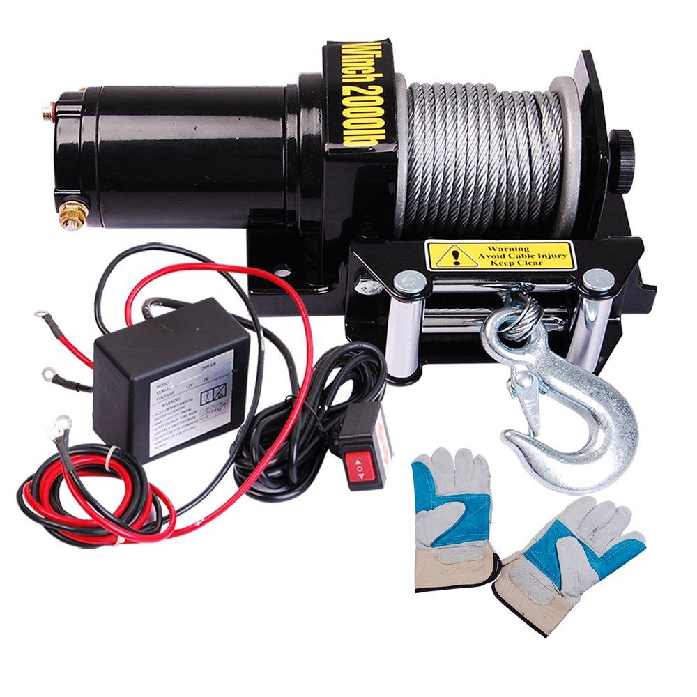 Yescom 2000 Lb 09hp Electric Recovery Winch Free Gloves Atv Utv 12 Volt Wiring Diagram Jeep Trailer Truck 12v Diy Tools