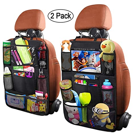Yiomxhi 2Pack Car Backseat Organizers for Kids with Clear iPad Holder, Universal Fit, Waterproof and Easy to Wash Car Organizer with 10 Storages & ...