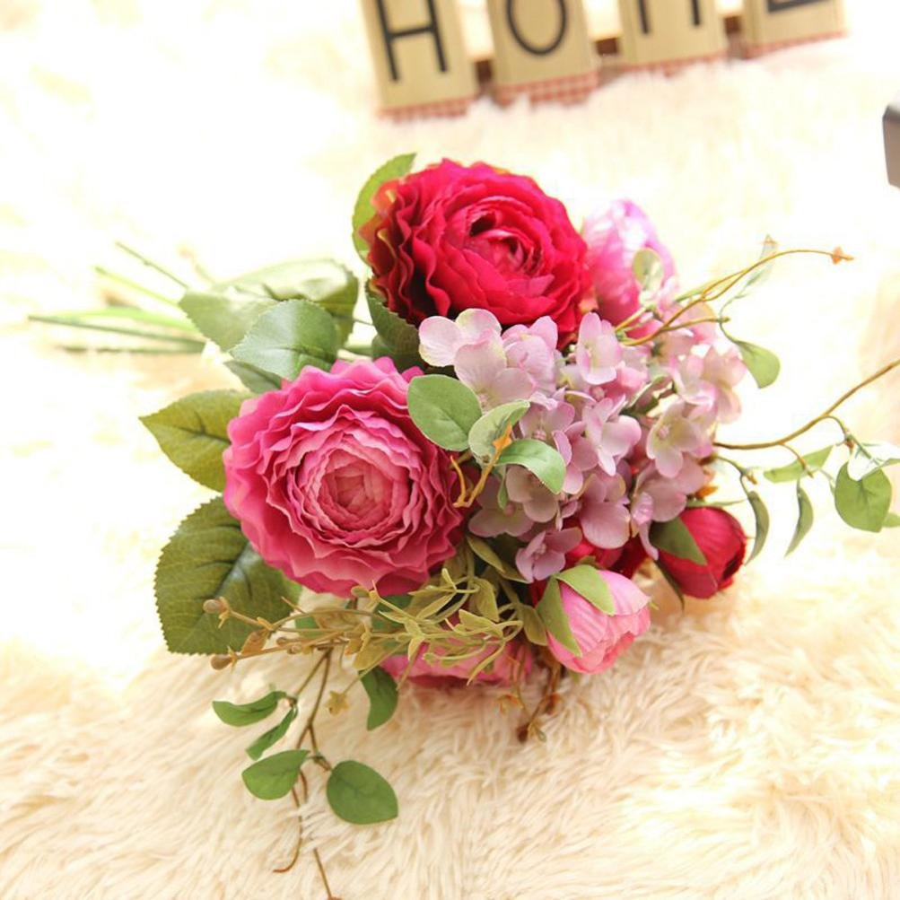 YJYdada-Artificial-Fake-Flowers-Land-Lotus-Floral-Wedding-Bouquet-Party-Home-Decor-Hot-pink