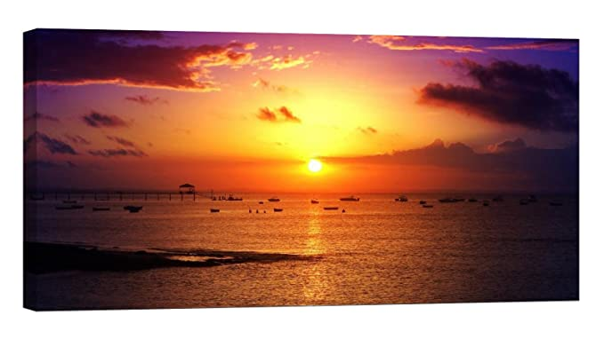 LED Painting Canvas, Boats At Sunset - Led canvas art