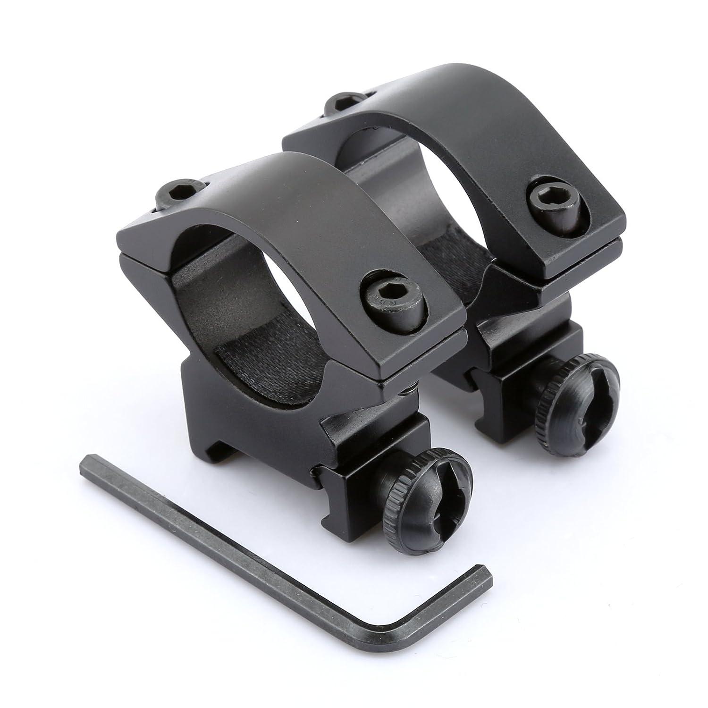 2pcs Negro Low Profile 1 25.4mm Ámbito montaje del anillo 20mm Picatinny del carril del tejedor Dophee